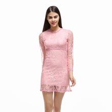 Women Elegant Print Dress Party Sexy Night Club Pink Short Dress O-Neck Long Sleeve Sheath Bodycon Lace A-Line Dress Mini A4