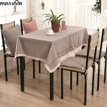 Pastoral Style Tablecloth for Dinner Party Geometric Grid Thicken Table Clothes High Quality Lace Edge Decorative Table Cover(China)