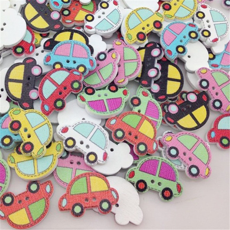 12PCS Wooden Car Shaped Two Hole Flat Buttons Sewing Coat Craft DIY 25*16MM