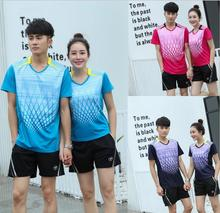 New women and men Badminton polo sport shirts sets,Men Tennis Shorts polyester Breathable table tennis Sport jersey +shorts sets(China)