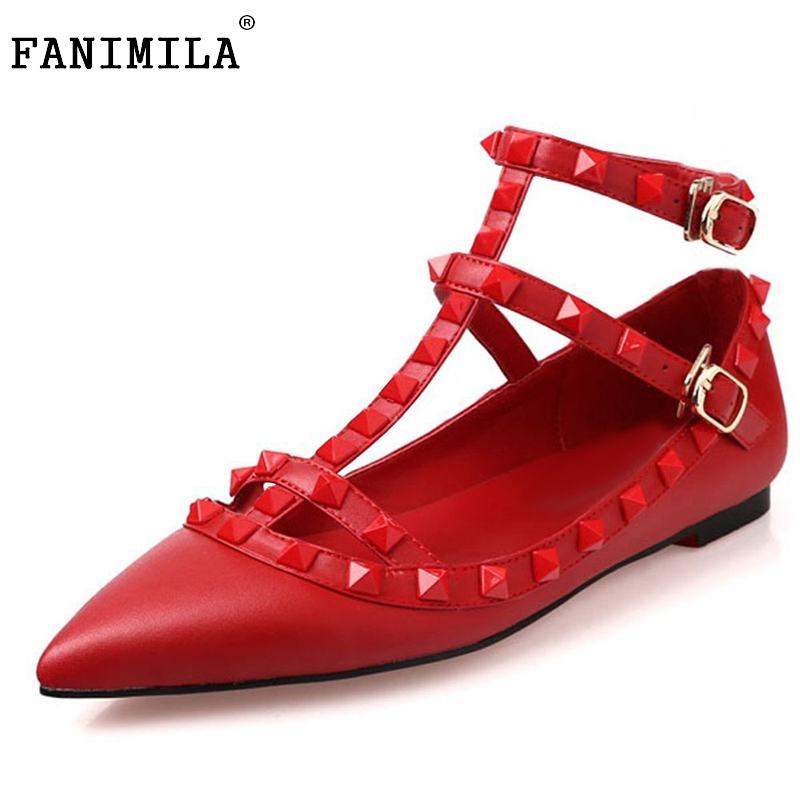 Women Flats Shoes Pointed Toe Casual Shoes Woman Sexy Patent Leather Rivets T-Strap Student Shoes LadyFootwear Size 35-46 B199