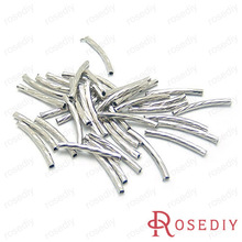(12694)Free Shipping Wholesale Connector Bead Making Findings Length:25MM,Diameter:2MM Imitation Rhodium Brass Twist Tube 100PCS