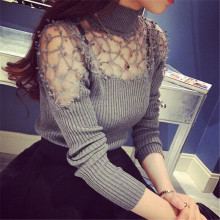 Autumn Lace Mesh Patchwork Women Thin Knitwear Korean Fashion Woman Turtleneck Sweater Long Sleeve Slim Pullover Tops 40752