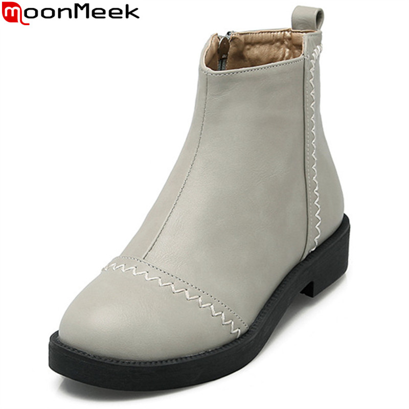 MoonMeek 2017 hot sale autumn winter new arrive women boots fashion pu leather zipper ankle boots simple comfortable<br>
