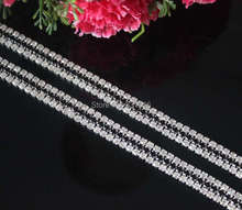 New 5Yards/lot DIY 3Rows Clear+Black Rhinestone Chain Trimming For Mobile Garment Shoes Jewelry Silver Base SS12 3mm