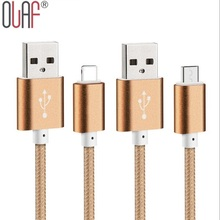 1M/1.5M Colorful Nylon Line and Metal Plug Micro USB Data Sync Charger Cable for iPhone 6 6s Plus 5 5s iPad / Samsung /HTC/Sony