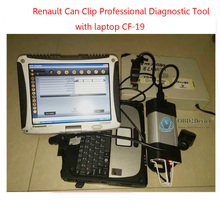 Newest V160 Renault Can Clip Auto Diagnostic Interface + panasonic cf-19 Professional Renault Scanner Diagnostic Tool DHL free