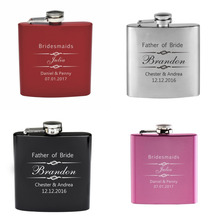 Personalized Engraved 6oz Hip Flask Stainless Steel Groomsman Bridesmaid Mother Father's Day Xmas Friend Gift Wedding Favors F08(China)