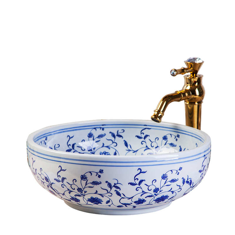 Ceramic Art Basin Sink Europe Vintage Style Counter Top Wash Basin Bathroom Sinks vanities china wash hand basin (1)