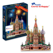 2014 new clever&happy land 3d puzzle model Vasile Assumption Cathedral large adult puzzle model games for children paper(China)