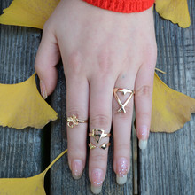 Ring Anillos The United States Retro Exaggerated National Wind Combination Ring 3d Digital Geometric Triangle