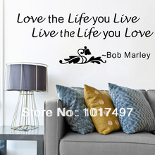 2 kinds ebay hot Multiple color bob marley inspirational wall sticker quotes removable art vinyl home decor decals free shipping