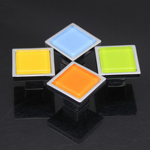 Glass Dresser Drawer Knob Pull Handle Square White Black Red Yellow Green Orange silver Furniture Cabinet Knob Hardware Colorful