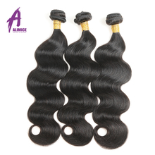 Alimice Raw Indian Hair Body Wave Bunbdles Human Hair Weave 8-30Inch Natural Color 1 Piece Non Remy Hair Free Shipping(China)
