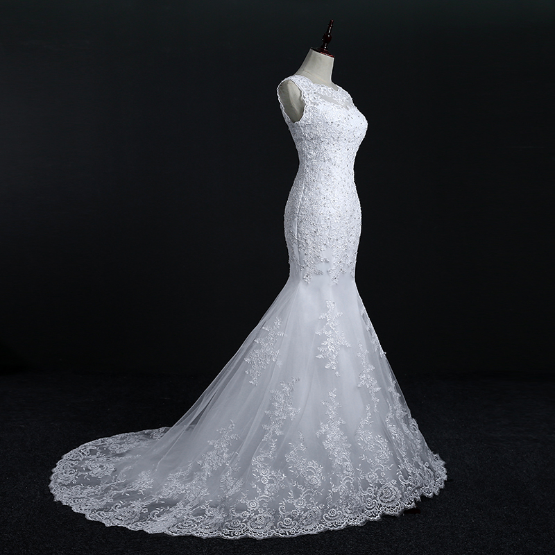 Fansmile New Arrival Lace Mermaid Wedding Dresses 2017 Plus Size Bridal Alibaba Wedding Dress Real Photo Free Shipping FSM-144M 4