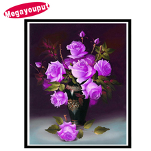 5d diy Diamond painting cross stitch kits diamond embroidery home decoration Purple rose picture diamond mosaic flower