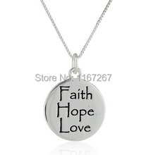 "2015 new style Graffiti Letter ""Faith Hope Love"" silver Pendant necklace best friend necklace Wholesale jewelry(China)"
