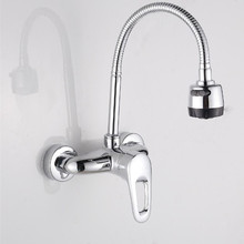 Popular single handle dual hole kitchen faucet with wall mounted kitchen mixer of hot cold kitchen sink water tap