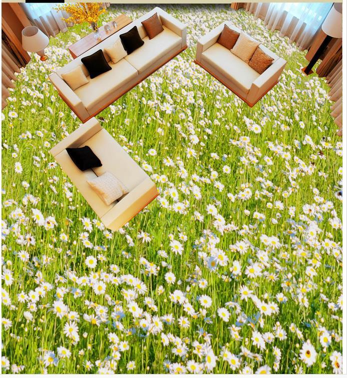 3D beautiful flowers 3D wallpaper floor for living room 3d floor tiles Custom Photo self-adhesive 3D floor  <br>