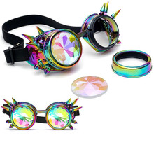 2018 New Fashion Summer Kaleidoscope Colorful Glasses Rave Festival Party EDM Sunglasses Diffracted Lens(China)