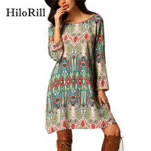 HiloRill Bohemian Style Women Dress Robe Sexy O Neck V Back Print Summer Short Beach Dresses Casual Long Sleeve Tunic Vestidos