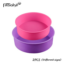 FILBAKE 2PCS Different Sizes Round Silicone Mold 2 Layers Cake Pan Baking for Birthday Cake Dessert(China)