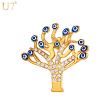 U7 New Tree of Life Brooches Lucky Jewelry Women Gift Trendy Wholesale Gold Color Men Brooch Pin Eye Jewelry B103(China)