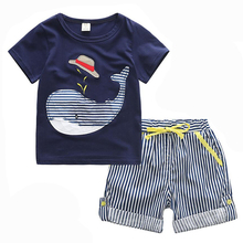 80-130cm Cotton Kids Boys Clothes Children Clothing Sets Summer Baby Boy Clothes Cute Whale Children's Sets T-Shirt Denim Pants(China)