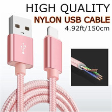 5Ft / 150cm Nylon Braided Cord 8 pin Cable Certified to USB Charging Charger for iphone 7 8 7s 6S 6 Plus iphone SE 5S 5C 5 ipod