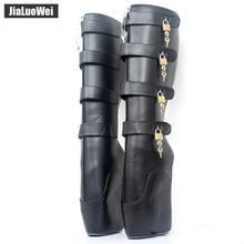 "Buy jialuowei New Ballet Boots 18cm/7"" Super High Heel Wedge Hoof Heelless Fashion Sexy Fetish Slave 10keys Lockable Knee High Boots"