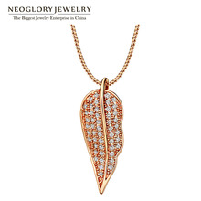 Neoglory AAA Zircon Rose Gold Color Charm Leaf Design Pendants & Necklaces for Women Fashion Jewelry 2017 New Brand Gifts