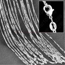 "10 pcs. / Lot wholesale silver necklace chain 2mm 925 Silver Jewelry Figaro Chain Necklace 16 ""-24"", choose the length!"