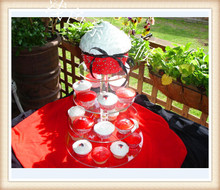 4-Tier Acrylic Round Wedding Cake Stand/ Cupcake Stand Tower/ Dessert Stand/ Pastry Serving Platter/ Food Display Stand(China)
