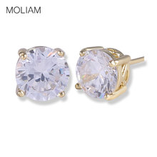 MOLIAM Fashion Earing Jewelry Light Yellow Gold-Color White Rhinestones CZ Stud Earrings for Women High Quality MLE032