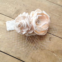 10pcs/lot Kids Lace headband with Burned Satin Flowers and Veil Lace Girls Headwear