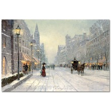 Expert Painter Hand-painted High Quality Abstract Street Oil Painting on Canvas Winter Snowing Oil Painting for Living Room