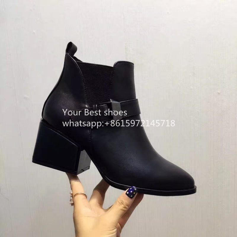 2016 classic style block heel ankle boots buckle strap black genuine leather wedge heel boots round toe womens combat boots <br><br>Aliexpress