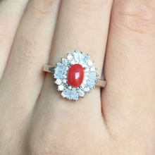 Natural red coral gem Ring Natural gemstone ring 925 sterling silver trendy Elegant flower sunflower women wedding party Jewelry