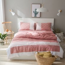 Light Red Bedding Set 4Pcs Grid Pillowcase White Flower Lace Bedsheet Solid Duvet Cover Gift For Girls Queen King Size