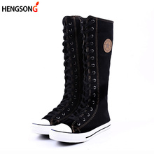 2017 New Fashion Canvas Boots Women Lace Zip Mid-Calf Flats Boots Hip Hop Boots Casual Tall Punk Gothic Shoes Women OR933077
