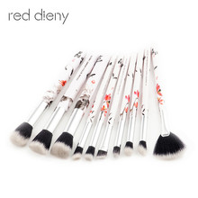 Ink Painting Roll Printing Water Brush Set 10PCS For Face And Eye Eyebrow Eyeshadow Makeup Brush Fan-shaped Foundation Brushes(China)