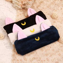 1pc Girls Casual Cartoon Elastic Headband Moon Embroidered Pattern Cat Ears Hair Band