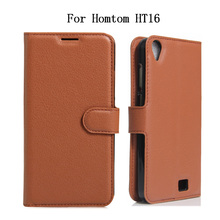 Coque Caso For Doogee Homtom HT16 Case Luxury PU Leather Back Cover Case For Homtom HT 16 Flip Protective Phone Bag Skin Capa(China)