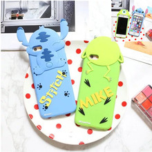 Anime Cartoon Stich Silicon 3D Cute Silicone Back Cover Case Mr.Q Monsters Mike Stitch Case For iPhone 6 6s 6 plus Fundas Capa