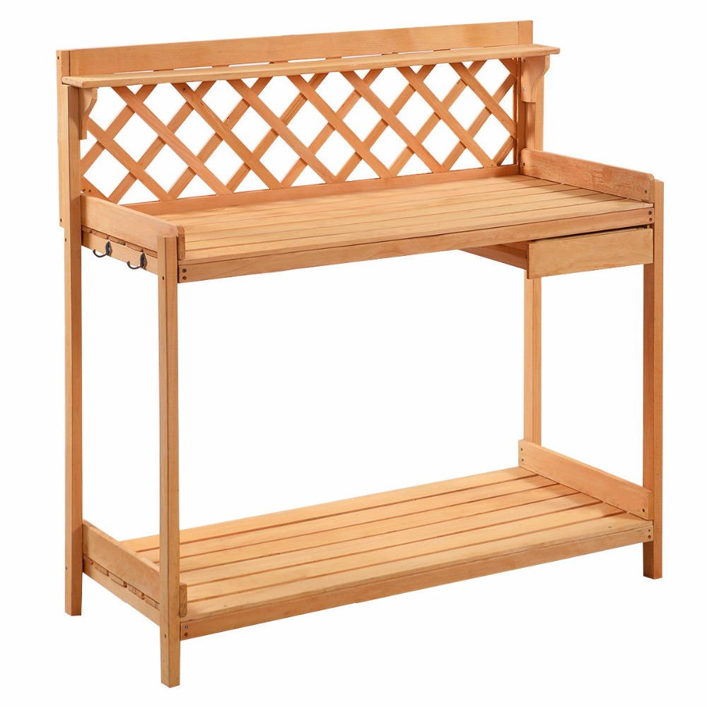 Outdoor wooden benches - Potting Bench Outdoor Garden Work Bench Station Planting Solid Wood Construction T2882