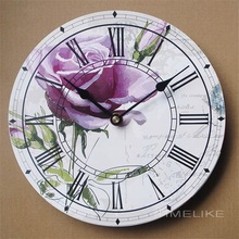 2017 New European Style Vintage MDF Wood Wall Clock Creative purple flower Round Antique Wall Clock Home Decoration