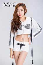 MOONIGHT Sexy Girl Cheerleader Costume Game Party Cheerleagering Uniform Long Sleeve Top With Hat +Panty(China)