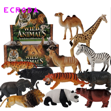 12 Pieces/lot Jungle Wild Animals Toy Figures Panda Camel Elephant Zebra Leopard Tiger Lion Giraff for Children With no Box