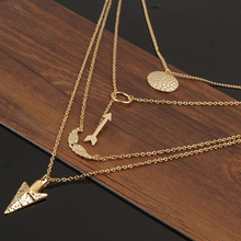 Volung New Gold Color Crystal Wing Arrow Pendant Multi Layer Bar Necklace 3 Layer Chain Peal Necklace for Women Jewelry