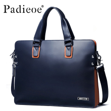 Padieoe New Fashion Men Briefcase Genuine Leather Men Bags Business Men Messenger Bags Luxury Brand Male Briefcases Handbags(China)